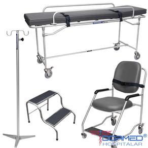 Kit de Móveis para Ressonância Magnética (Maca + Suporte de Soro + Escada + Cadeira de Rodas)