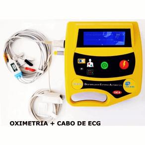 Desfibrilador-Externo-Automatico-DEA-com-Display-LCD-e-Tracado-Ecg-Life-400-Futura-Cmos-Drake-Cabo-de-ECG-05-Vias-Oximetria-de-Pulso